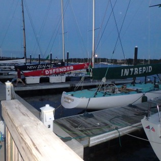 A shot of the 12-metre fleet at sundown.
